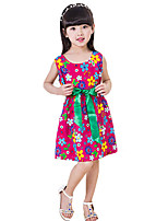 Girl's Casual/Daily Floral Dress,Cotton Summer Red / White