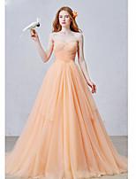 Formeller Abend Kleid Ballkleid Herzausschnitt Hof Schleppe Tüll mit Plissee
