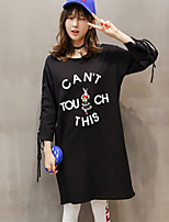 Women's Going out Street chic Long Hoodies,Solid Black / Green Round Neck ¾ Sleeve Cotton / Spandex Fall Medium