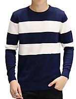 Мужской В полоску Пуловер На каждый день,Хлопок,Длинный рукав,Черный / Синий / Белый
