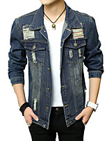 Men's Long Sleeve Casual Jacket,Cotton Solid / Patchwork Blue MF-1502
