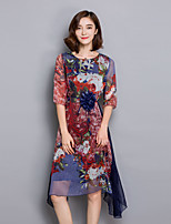 Women's Casual/Daily / Plus Size Simple Loose Dress,Print Round Neck Knee-length ½ Length Sleeve Blue Rayon Summer