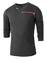 Men's Patchwork Casual T-Shirt,Cotton Long Sleeve-Black / White / Gray