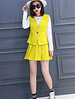 Boutique S Women's Going out/Daily Cute Spring / Fall Set Skirt,Solid Round Neck Long Sleeve Yellow Others Opaque