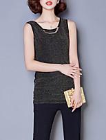 Damen Standard Strickjacke-Lässig/Alltäglich Einfach Solide Schwarz / Gold Rundhalsausschnitt Ärmellos Polyester Sommer Dünn