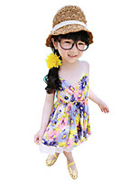 Girl's Going out Print Dress,Cotton Summer Green / Purple