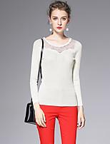 AFOLD® Women's Round Neck Long Sleeve T Shirt Black / White / Gray-6051