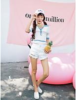 Damen Standard Pullover-Lässig/Alltäglich Einfach Gestreift / Einfarbig Mehrfarbig V-Ausschnitt Kurzarm Kunstseide Sommer Mittel
