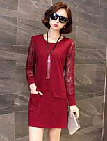 Women's Going out / Plus Size Vintage Sheath Dress,Patchwork Round Neck Above Knee Long Sleeve Red / Black Cotton / Polyester SpringMid