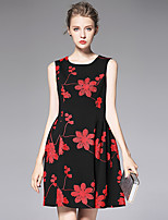 AFOLD® Women's Round Neck Sleeveless Above Knee Dress-Y6070