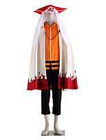 Inspiriert von Naruto Naruto Uzumaki Anime Cosplay Kostüme Cosplay Kostüme einfarbig Weiß / Schwarz / Orange Lange ÄrmelUmhang / Top /