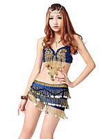Latin Dance Outfits Women's Performance Polyester Sequins / Tassel(s) 2 Pieces Latin Dance Sleeveless Dropped