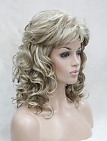 New Fashion Honey Ash Blonde Mix Pale Blonde Curly Medium Length Synthetic Wig
