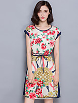 Women's Going out / Plus Size Cute Sheath Dress,Floral Round Neck Above Knee Short Sleeve Blue Polyester Summer