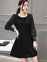 Women's Plus Size / Going out Street chic Sheath Dress,Solid Round Neck Above Knee Long Sleeve Red / Black