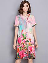 Women's Plus Size Vintage A Line Dress,Floral V Neck Above Knee Short Sleeve Red Silk Summer