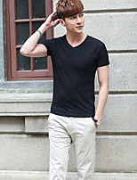 Men's Solid Casual T-ShirtRayon Short Sleeve-Black / White / Gray
