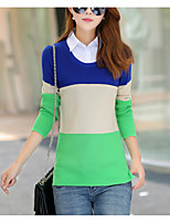 Women's Casual/Daily Simple Regular Cardigan,Striped Shirt Collar Long Sleeve Cotton Fall / Winter Medium