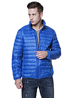 Men's Frivolous Warm Plus Size Down Coat, Solid Stand Collar Long Sleeve