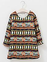 Robe Fille de Brodée Décontracté / Quotidien Coton Printemps / Automne Marron