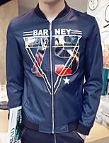 Men's Long Sleeve Casual / Work / Formal / Sport / Plus Sizes Jacket,Polyester Letter Black / Blue / Green / White