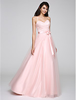 TS Couture® Formal Evening Dress A-line Spaghetti Straps Floor-length Tulle with Sash / Ribbon