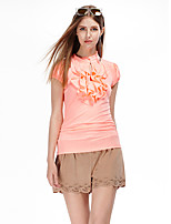 Women's Going out Simple Summer T-shirt,Solid Crew Neck Short Sleeve Orange Polyester / Spandex Thin