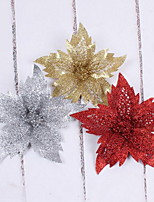 25cm Red And Gold Glitter Powder Christmas Flower For Christmas Tree Wreath Decorations