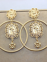 Earring Round Jewelry Women Fashion Daily / Casual Alloy 1 pair Gold