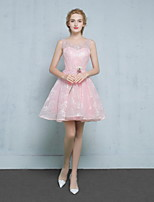 Short / Mini Lace / Satin Bridesmaid Dress Ball Gown Scoop with Beading / Lace / Sequins