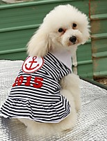 Cat Dog Shirt / T-Shirt Dress Dog Clothes Summer Spring/Fall Sailor Casual/Daily Red Blue