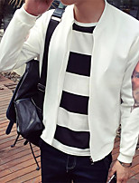 Men's Long Sleeve Plus Size Jacket,Polyester Solid Black / White