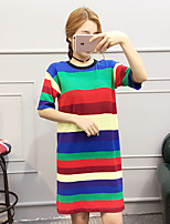 Women's Casual/Daily Simple Long Pullover,Striped Blue / White Round Neck Short Sleeve Acrylic Summer Thin