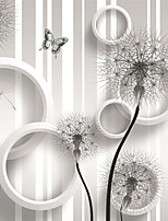 JAMMORY Art DecoWallpaper For Home Wall Covering Canvas Adhesive required Mural White Dandelion Bottom3XL(14'7''*9'2'')