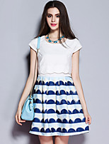 Sybel Women's Going out / Street chic Sheath Dress,Geometric Round Neck Above Knee Short Sleeve White PolyesterSummer
