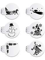 6pcs/lots Merry Christmas Pulley Decoration for Cake Side,Top Cookies Stencil  Fondant Decorating Tool SetST-921