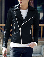 Men's Casual Jacket,PU Solid Black