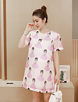 Maternity Casual/Daily Street chic Loose Dress,Print Round Neck Above Knee Short Sleeve Pink / Purple Polyester Summer