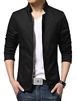 Men's Korean Slim Stand Collar Jacket,Cotton / Polyester Solid Black / Blue