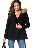 Women's Casual/Daily Vintage Coat,Solid Hooded Long Sleeve Winter Black Rayon Opaque