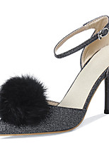 Women's Shoes Stiletto Heel Pointed Toe Ankle Strap Pump with Fur More Color Available