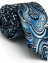 For Men 100% Silk Paisley Blue Casual Men's Necktie Tie Jacquard Woven