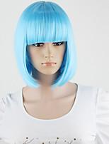 pelucas llenas lolita corta sintética del partido del pelo marrón mezclado cosplay cielo de Harajuku las mujeres pelucas azules