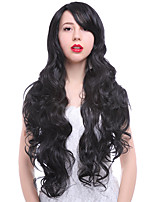 Fashion Women Cute Lady Wig 24inch Synthetic Wigs Long Black Color Cosplay Wig