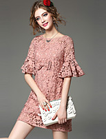 Women's Plus Size / Going out Cute A Dress,Jacquard Round Neck Above Knee ½ Length Sleeve Pink / White / Black Polyester