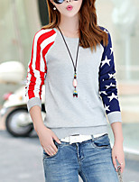 Casual/Daily Simple Regular Pullover,Striped / Color Block Blue / Red / Gray Round Neck Long Sleeve Cotton Fall Medium