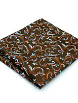 New Men's Pocket Square 100% Silk Brown Floral For Men Handkerchief Jacquard Woven Dress Business