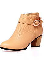 Women's Boots Spring / Fall / Winter Fashion Boots Leatherette Office & Career / Casual Chunky Heel BuckleBlack / White