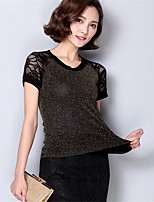 Women's Casual/Daily Sexy Summer T-shirt,Patchwork Round Neck Short Sleeve Gold / Silver Polyester Medium