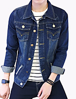 Men's Fashion Solid Broken Hole Slim Fit Casual Long Sleeve Denim Jacket,Cotton/Print/Casual/Plus Size